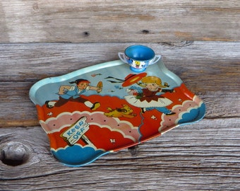 Ohio Art Tin Lithograph Tray  Childs 1950's Playtime Serving Tray Bryan Ohio Mid Century Toys