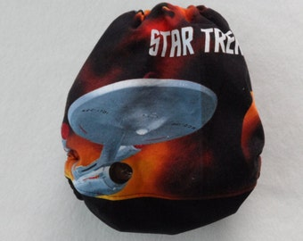 SassyCloth one size pocket diaper with Star Trek cotton print. Ready to ship.