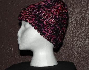 Knit Pink/Black Hat