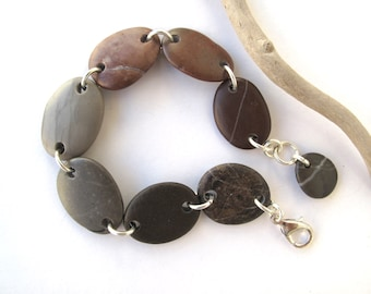 Rock Bracelet Mediterranean Natural Stone Bracelet Pebble Bracelet Beach Stone Bracelet River Stone Jewelry Silver Brown Grey SOUTH