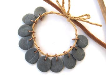Beach Stone Beads Top Drilled Mediterranean Natural Stone Charms Diy Jewelry Findings Rock Beads Pairs Copper MATTE GREY CHARMS 15-17 mm
