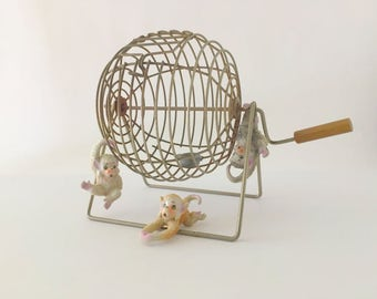 Vintage Metal Bingo Cage, Spinner, Tumbler, 1950's Fun and Games