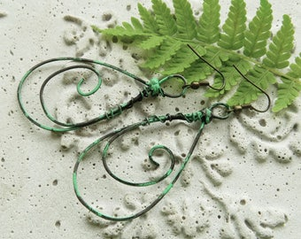 Oxidized verdigris wire earrings, dropped shaped with spirals