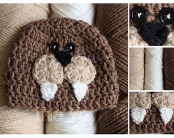 Newborn, Infant, Youth, Teen, Adult Sized Crochet Walrus Hat