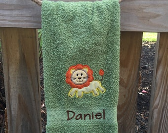 Lion embroidered hand towel, personalized towel, kids towel