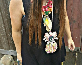 Festival necklace, skull necklace, heart necklace, neon jewelry, pom pom necklace, boho jewelry, gypsy jewelry, hippie style, tassel jewelry