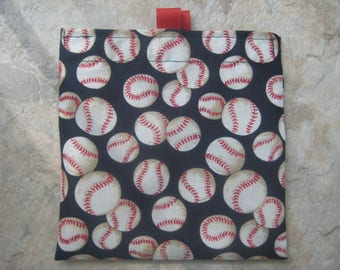Baseball on Navy Blue  Reusable Sandwich Bag, Reusable Snack Bag with easy open tabs