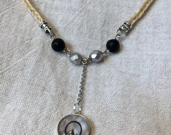 Horsehair Necklace with Hoof Print Pendant