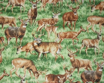 Deer Fabric, Wildlife Fabric, By The Yard, Fabri Quilt Fabrics, American Wildlife Collections, Quilting Sewing Fabric, Nature Fabric