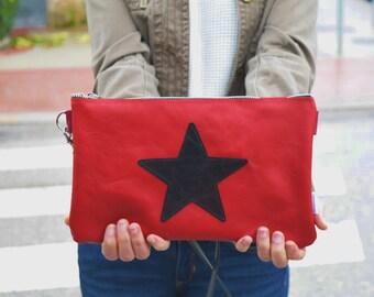Leather purse bag,star handbag,red leather purse,leather red handbag,stars leather,stars purse bag,crossbody bag,steampunk,silver star