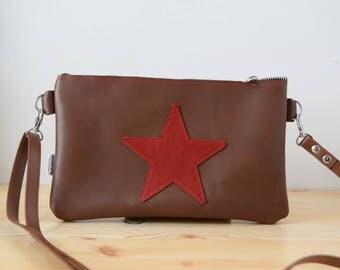 Leather purse bag,star handbag,brown leather purse,leather red handbag,stars leather,stars purse bag,crossbody bag,steampunk,brown star