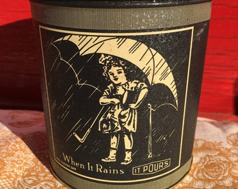 Vintage Morton salt advertising tin