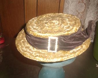 vintage ladies hat strawlike brown velvet rhinestones the forecast
