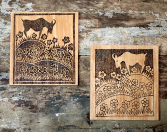 Pyrographed, Art Nouveau, Goats in Flowered Field, Wall Hangings