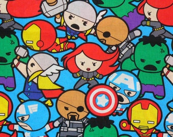 Marvel Kawaii Fabric, Packed Super Heroes, Captain America, Black Widow,  Thor, Silver Surfer, Ironman, Hulk, By the Yard, Cotton Fabric