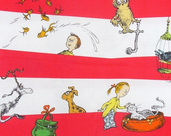 What Pet Should I Get, Robert Kaufman, Dr Seuss, Childhood Books, Striped Style, By the Yard, Cotton Fabric