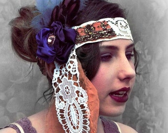 Bridal 1920s Great Gatsby Flapper headdress. Costume headdress. Silk fairy headpiece. Purple and peach vintage lace headband. Gift for her.