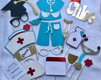 NURSES SCRUBS photo booth props, nursing school photo props, nursing grad party props, graduation hat, grad party decorations
