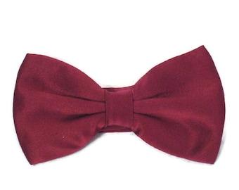 Burgundy Bow Tie Maroon Bow Tie Tux Tie Satin Bow Tie Vintage Neckwear Vintage Bowtie Formal Wear Formal Bow Tie Tuxedo Tie