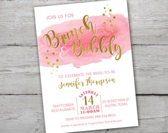 Brunch and Bubbly Bridal Shower Invitation, PRINTABLE, Pink and Gold Bridal Shower Invitation, Pink Wedding Shower Invites
