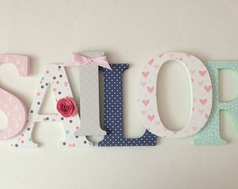 Wooden  letters for nursery in pink, gold, navy, coral and mint