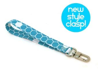 Blue Honeycomb Wrist Strap - Keychain Strap - Handmade Key Chain Lanyard - Wristlet Strap - Bee Hive Key Fob - Wallet Strap - Ready to Ship