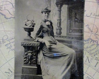 antique tintype - young woman with columns, fruit bowl