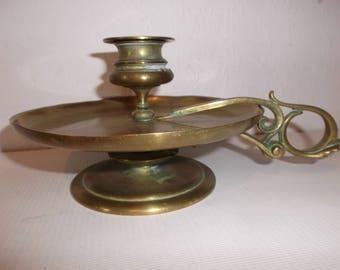 Antique Arts and Crafts Brass Candlestick Holder Art Nouveau Candle Holder