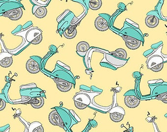 Northcott Fabrics - Mopeds on Yellow - Hipster on the Go - Tiny Treasures - By Deborah Edwards - By The Yard