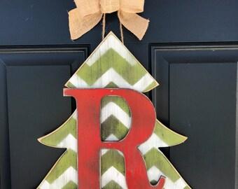 Christmas door decor, Wood door decor with intital, Christmas door decor with monogram, Front door decor