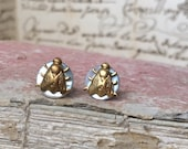 Tiny antique Mother of Pearl button gold plated stud earrings, Napolean bee insect vintage jewellery stamping. French style christmas gift