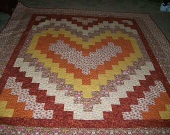 Queen Size Bargello Heart Quilt in Multicolors of Burgundy, Pink, Gold
