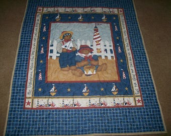 Teddy Bear Lighthouse Seashore Quilt