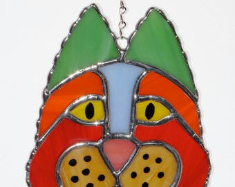 Stained Glass Suncatcher - Cat Head, Cat of a Different Color, Original Design