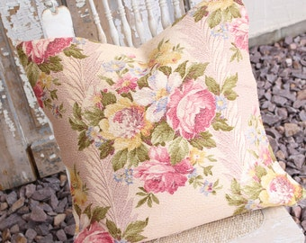 Pink English Cabbage Roses Floral Vintage 1930s Vintage Nubby Barkcloth Fabric Decorative Throw Pillow