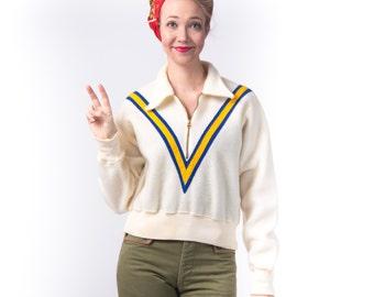 1940's Hail Varsity Sweater/ 40's Sport Goods Jacket Half Zip Pullover