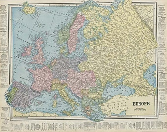 EUROPE also ENGLAND and WALES  Maps from 'The Home Knowledge Atlas' Original Double-Sided Book Page 1899