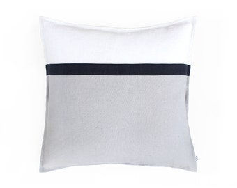 Color block pillow cover Dove grey - off white linen throw pillow cover whith charcoal stripe. Natural accent pillow covers, custom cushion