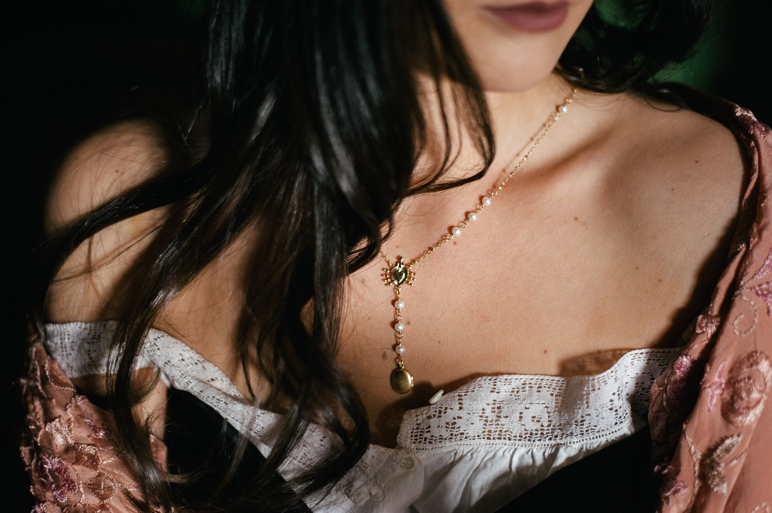 chiaroscuro pearl locket rosary necklace