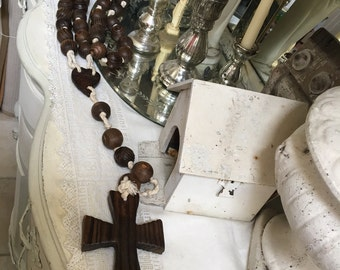 Beautiful Long Handmade Vintage Primitive Religious Wood Rosary Cross