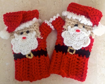 Crochet Santa Claus Fingerless Gloves OR Coffee Tea Cozy! PATTERN ONLY Instant pdf
