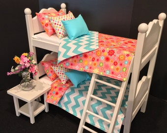 American Girl Doll: Furniture, White Bunk beds/ with Riley Blake bedding