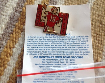 Vintage NFL football Joe Montana San Francisco 49ers Super Bowl MVP pin