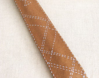 Mens Neck Tie, Mens Ties, Hand Embroidered, Camel Tie, Preppy, Neck wear, Handmade, OOAK, Wil Shepherd, Embellished, Upcycled, Vintage, Wool