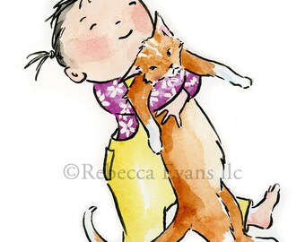 Illustration Art Print of Little Girl Hugging Cat 8.5x11