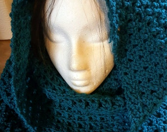 Long Crochet Head Covering Cowl With Fringe