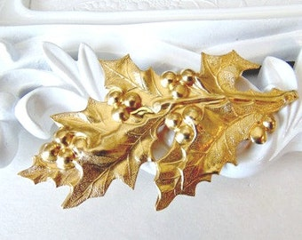 Gold Holly Leaf Barette, Gold Holly Leaf Clip, Bridal Hair Clip, Christmas Hair Clip, Holly and Berries, Winter Wedding, Holiday HOLLY
