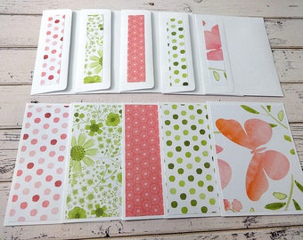 Blank Note Cards, Note Card Set, Blank Cards, Thank You Notes, Stationary, Set of 5 Note Cards with Matching Envelopes, Spring Butterfly