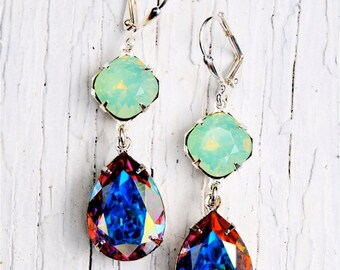 SALE Pacific Green Opal Aurora Borealis Vintage Swarovski Earrings Nautical Earrings Rhinestone Earrings Gwenevere Jewelry by Mashugana
