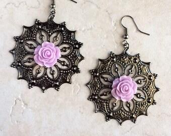 Purple Flower Gun Metal Filigree Earrings, Lavender Purple Resin Flower Earrings, Boho Bohemian Jewelry